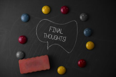 Handwriting text writing Final Thoughts. Conceptual photo should be last few sentences within your conclusions Round Flat shape stones with one eraser stick to old chalk black board Stok Fotoğraf