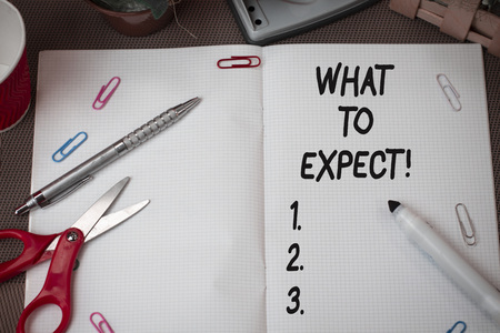 Text sign showing What To Expect. Business photo showcasing asking about regard something as likely to happen occur Scissors and writing equipments plus math book above textured backdrop Imagens - 124598201