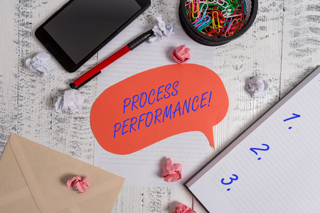 Writing note showing Process Perforanalysisce. Business concept for Measures Process effectively Meet organizations Objective Smartphone pen clips envelope sheet speech bubble paper balls notebook Imagens