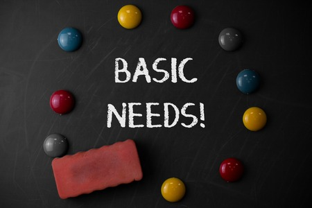 Word writing text Basic Needs. Business photo showcasing measurement of absolute poverty in developing countries Round Flat shape stones with one eraser stick to old chalk black board Stock Photo