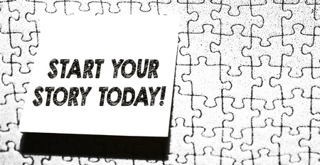 Word writing text Start Your Story Today. Business photo showcasing work hard on yourself and begin from this moment Piece of square note paper use for give notation stick to puzzle background Stock Photo