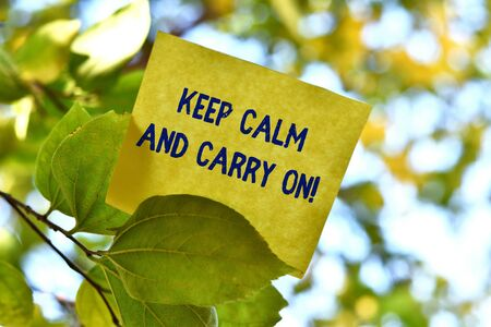 Word writing text Keep Calm And Carry On. Business photo showcasing slogan calling for persistence face of challenge Piece of square paper use to give notation on tree leaf under sunny day 스톡 콘텐츠