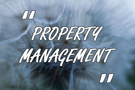 Conceptual hand writing showing Property Management. Concept meaning Overseeing of Real Estate Preserved value of Facility Close up abstract dandelion seeds background Blowing away