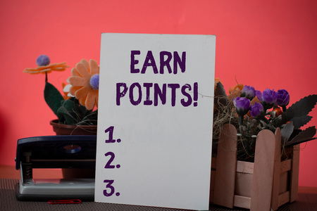 Text sign showing Earn Points. Business photo showcasing collecting big scores in order qualify to win big prize Flowers and writing equipments plus plain sheet above textured backdrop