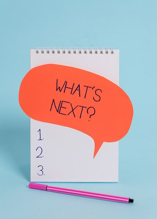 Handwriting text writing What's Next Question. Conceptual photo Get information Ask Query Investigate Probes Explore Standing blank spiral notepad speech bubble pen lying cool background