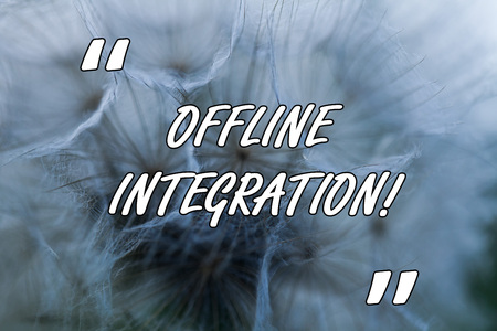 Conceptual hand writing showing Offline Integration. Concept meaning First Triad of Marketing Television Print and Outdoor Close up abstract dandelion seeds background Blowing away Stock Photo