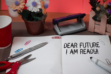 Word writing text Dear Future I Am Ready. Business photo showcasing state action situation being fully prepared Scissors and writing equipments plus math book above textured backdrop