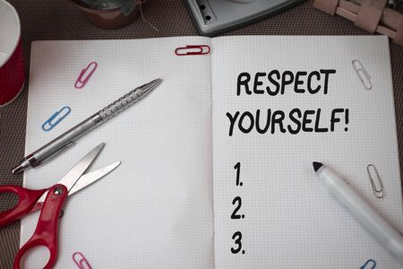Text sign showing Respect Yourself. Business photo showcasing believing that you good and worthy being treated well Scissors and writing equipments plus math book above textured backdrop 스톡 콘텐츠