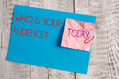 Handwriting text Who Is Your Audience Question. Conceptual photo who is watching or listening to it Wrinkle paper and cardboard plus stationary placed above wooden background Stok Fotoğraf