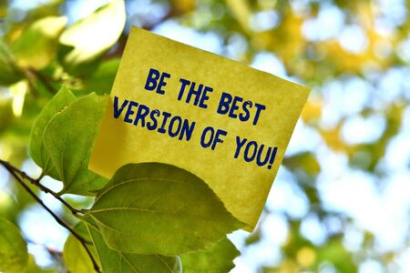 Word writing text Be The Best Version Of You. Business photo showcasing going to move away from where are start improving Piece of square paper use to give notation on tree leaf under sunny day