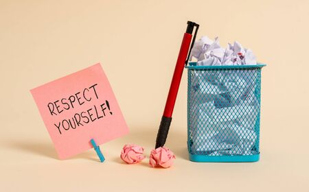 Word writing text Respect Yourself. Business photo showcasing believing that you good and worthy being treated well Plain note paper and stationary placed above soft pastel colour backdrop