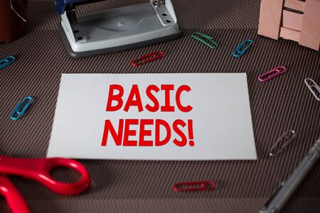 Text sign showing Basic Needs. Business photo text measurement of absolute poverty in developing countries Scissors and writing equipments plus plain sheet above textured backdrop Stock Photo