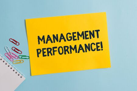 Text sign showing Management Perforanalysisce. Business photo showcasing feedback on Managerial Skills and Competencies Plain cardboard and writing equipment placed above pastel colour backdrop