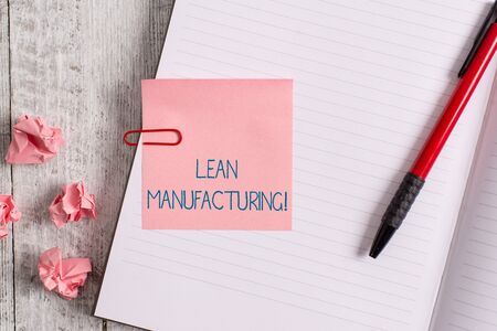 Word writing text Lean Manufacturing. Business photo showcasing Waste Minimization without sacrificing productivity Thick pages notebook stationary placed above classic look wooden backdrop Stock Photo
