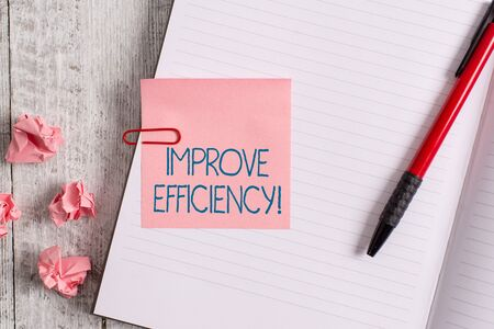Word writing text Improve Efficiency. Business photo showcasing Competency in perforanalysisce with Least Waste of Effort Thick pages notebook stationary placed above classic look wooden backdrop