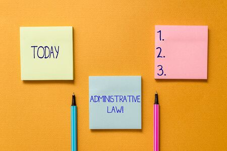 Conceptual hand writing showing Administrative Law. Concept meaning Body of Rules regulations Orders created by a government Front view colored sticky note ballpoints yolk background