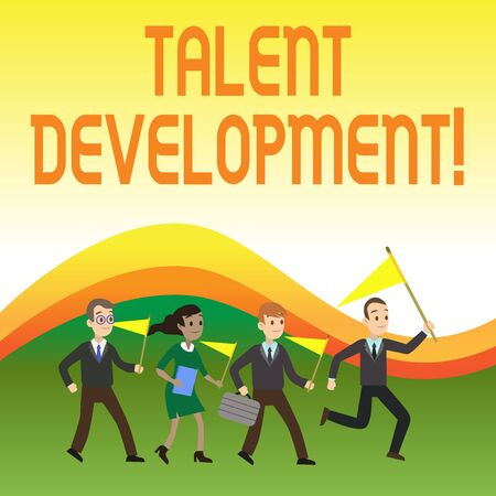 Writing note showing Talent Development. Business concept for Building Skills Abilities Improving Potential Leader Crowd Flags Headed by Leader Running Demonstration Meeting