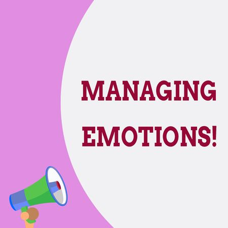 Text sign showing Managing Emotions. Business photo text ability be open to feelings and modulate them in oneself Half part blank huge balloon empty text with small megaphone. Announcement
