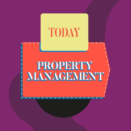 Writing note showing Property Management. Business concept for Overseeing of Real Estate Preserved value of Facility Blank banner rectangle square above semicircle Geometrical background