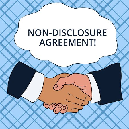 Writing note showing Non Disclosure Agreement. Business concept for Legal Contract Confidential Material or Information Hand Shake Multiracial Male Colleagues Formal Shirt Suit