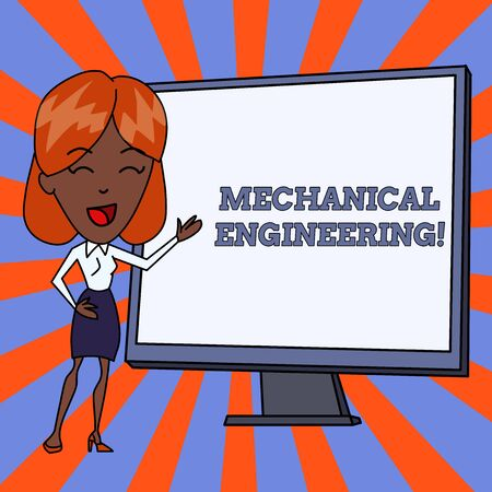 Handwriting text Mechanical Engineering. Conceptual photo deals with Design Manufacture Use of Machines White Female in Standing Pointing Blank Screen Whiteboard Presentation Imagens - 124482273