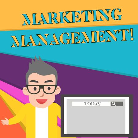 Word writing text Marketing Management. Business photo showcasing Develop Advertise Promote a new Product or Service Male Speaker Monitor with Search Tool on Screen Presentation or Report