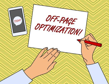 Writing note showing Off Page Optimization. Business concept for Website External Process Promotional Method Ranking Top View Man Writing Paper Pen Smartphone Message Icon Foto de archivo