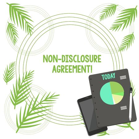 Writing note showing Non Disclosure Agreement. Business concept for Legal Contract Confidential Material or Information Layout Smartphone Off Ballpoint Notepad Business Pie Chart