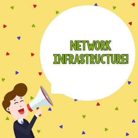 Word writing text Network Infrastructure. Business photo showcasing Hardware and Software resources In and Out Connection Young Man Shouting into Megaphone Floating Round Shape Empty Speech Bubble