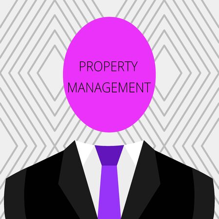 Handwriting text Property Management. Conceptual photo Overseeing of Real Estate Preserved value of Facility Symbolic Drawing Emblematic Figure of Man Formal Suit Oval Faceless Head