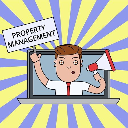 Writing note showing Property Management. Business concept for Overseeing of Real Estate Preserved value of Facility Man Speaking Through Laptop into Megaphone Plate with Handle