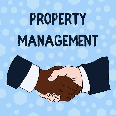 Word writing text Property Management. Business photo showcasing Overseeing of Real Estate Preserved value of Facility Hand Shake Multiracial Male Business Partners Colleagues Formal Shirt Suit Stockfoto