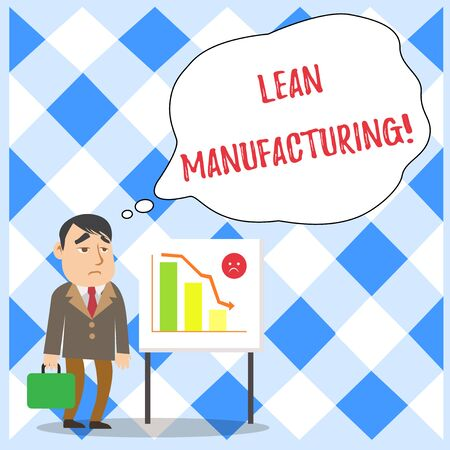 Word writing text Lean Manufacturing. Business photo showcasing Waste Minimization without sacrificing productivity Businessman Clerk with Brief Case Standing Whiteboard Declining Bar Chart Banco de Imagens