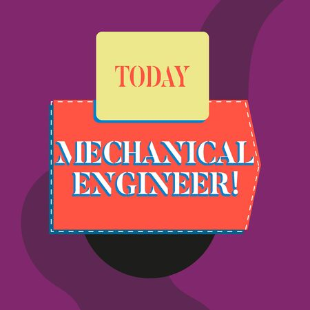 Writing note showing Mechanical Engineer. Business concept for Applied Engineering Discipline for Mechanical System Blank banner rectangle square above semicircle Geometrical background Stock fotó