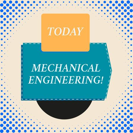 Writing note showing Mechanical Engineering. Business concept for deals with Design Manufacture Use of Machines Rectangle square above semicircle down Geometrical background Imagens
