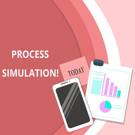 Handwriting text Process Simulation. Conceptual photo Technical Representation Fabricated Study of a system Layout Smartphone Off Sticky Notes Clipboard with Pie Chart and Bar Graph