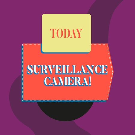 Writing note showing Surveillance Camera. Business concept for Closed Circuit Television transmit signal on monitors Blank banner rectangle square above semicircle Geometrical background Standard-Bild - 124484880