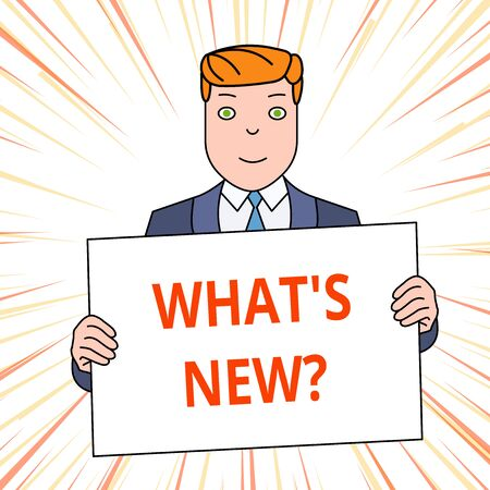 Handwriting text What S New Question. Conceptual photo Asking about latest Updates Trends Happening News Smiling Man Holding Formal Suit Big Blank Poster Board in Front of Himself