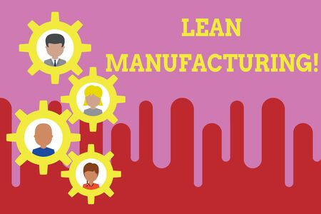 Conceptual hand writing showing Lean Manufacturing. Concept meaning Waste Minimization without sacrificing productivity Gearshaped picture frame family ornament Whole Family photo Stock Photo