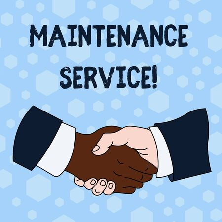 Word writing text Maintenance Service. Business photo showcasing Keep a Product Service in Good Operating Condition Hand Shake Multiracial Male Business Partners Colleagues Formal Shirt Suit