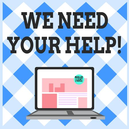 Word writing text We Need Your Help. Business photo showcasing asking someone to stand with you against difficulty Open Modern Laptop Switched On with Website Homepage on Screen Web Search Stock Photo