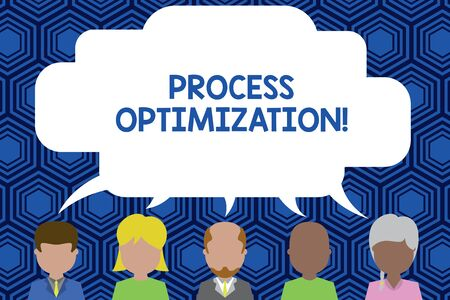 Text sign showing Process Optimization. Business photo showcasing Improve Organizations Efficiency Maximize Throughput Five different races persons sharing blank speech bubble. People talking