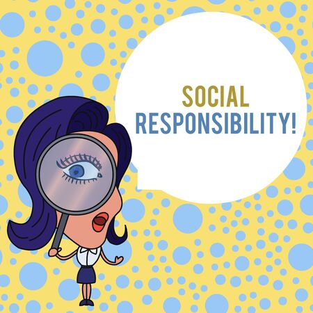 Word writing text Social Responsibility. Business photo showcasing Obligation for the Benefit of Society Balance in life Woman Looking Trough Magnifying Glass Big Eye Blank Round Speech Bubble Archivio Fotografico