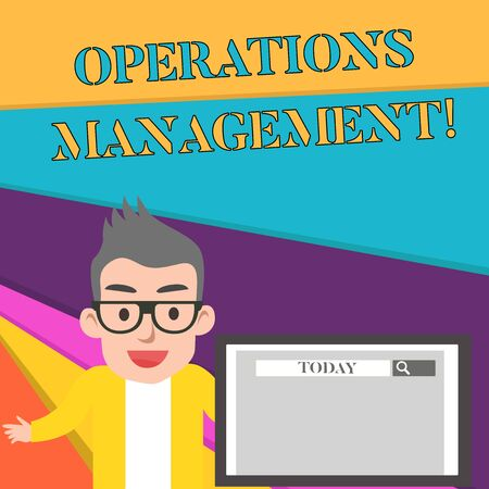 Word writing text Operations Management. Business photo showcasing ensure Inputs to Output the Production and Provision Male Speaker Monitor with Search Tool on Screen Presentation or Report