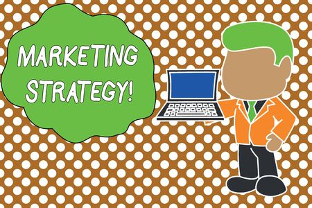 Conceptual hand writing showing Marketing Strategy. Concept meaning Scheme on How to Lay out Products Services Business Standing businessman holding open laptop right hand side