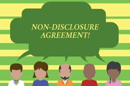 Text sign showing Non Disclosure Agreement. Business photo text Legal Contract Confidential Material or Information Five different races persons sharing blank speech bubble. People talking