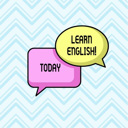 Handwriting text Learn English. Conceptual photo gain acquire knowledge in new language by study Pair of Overlapping Blank Speech Bubbles of Oval and Rectangular Shape