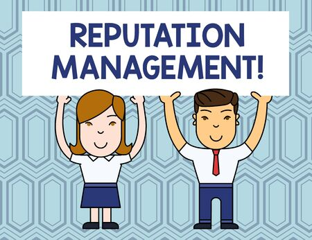 Text sign showing Reputation Management. Business photo showcasing Influence and Control the Image Brand Restoration Two Smiling People Holding Big Blank Poster Board Overhead with Both Hands