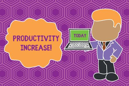 Text sign showing Productivity Increase. Business photo showcasing get more things done Output per unit of Product Input Standing professional businessman holding open laptop right hand side