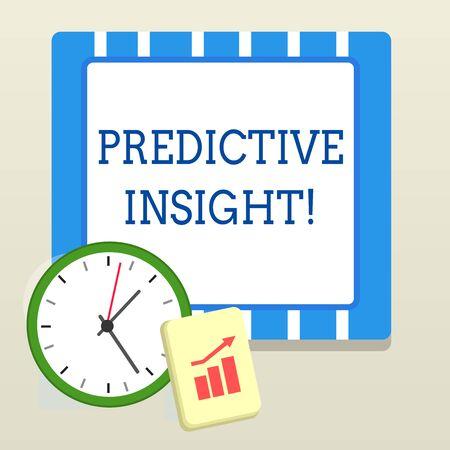 Escritura de texto Word Predictive Insight. Foto de negocios que muestra un sistema de gestión de fallas proactivo, un Bloc de notas de reloj de pared de diseño de detección temprana con gráfico de barras ascendente y flecha apuntando hacia arriba